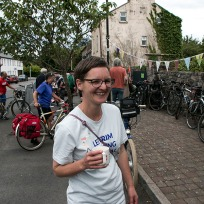 Jo with a well earned cup of tea!