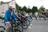 Lining up for the slow bike race!